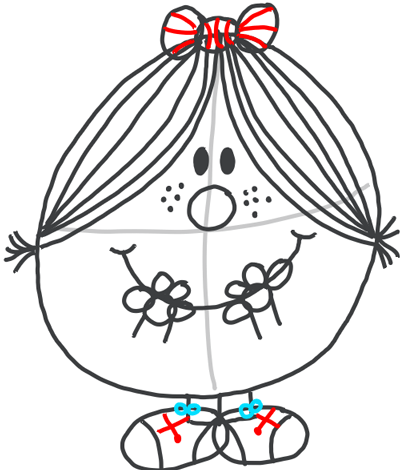 Step 9 : Drawing Little Miss Magic Simple Step by Step Lesson