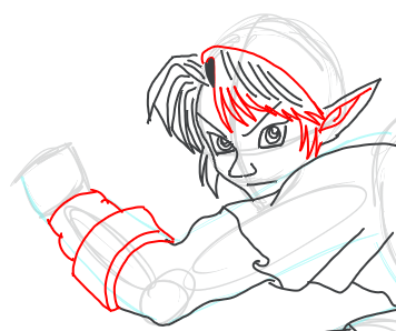 Step 9 : Drawing Link from Legend of Zelda in Easy Steps Lesson