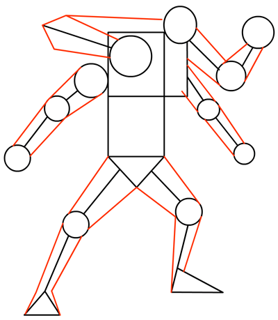 Step 5 : Drawing Four Arms from Ben 10 Alien Force Tutorial