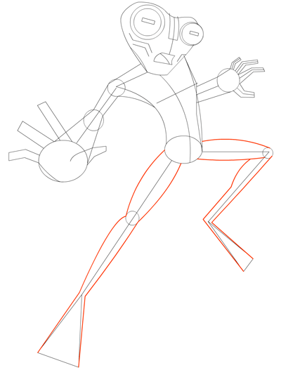 Step 8 Drawing Grey Matter Alien from Ben 10 Lesson