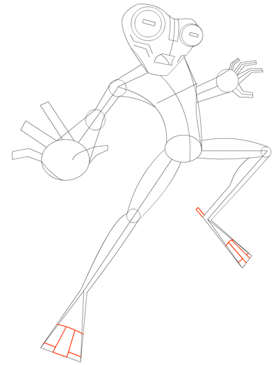 Step 9 Drawing Grey Matter Alien from Ben 10 Lesson