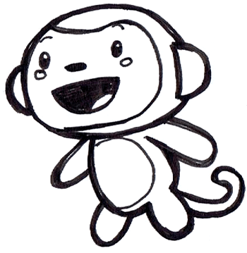 Black And White Monkey Drawing. in lack and white.