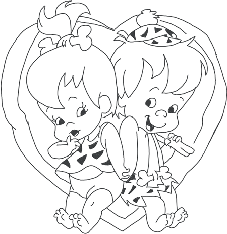 How to Draw Pebbles and Bam Bam from The Flinstones in Heart for Valentines Day