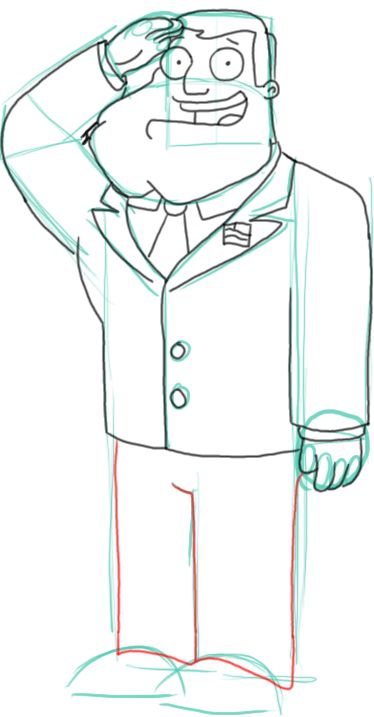 Step 10 : Drawing Stan the Dad from American Dad Step by Step Tutorial