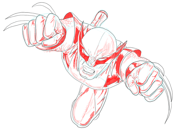 Step 10 : Drawing DC Comics Wolverine in Easy Steps Lesson