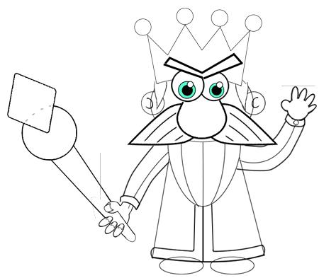Step 10 : Drawing Cartoon Kings Easy Steps Tutorial