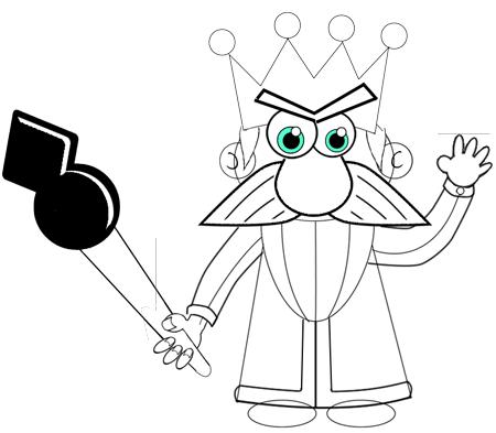 Step 11 : Drawing Cartoon Kings Easy Steps Tutorial