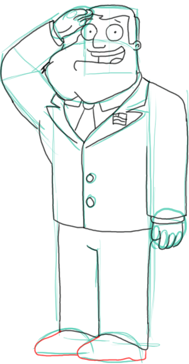 Step 11 : Drawing Stan the Dad from American Dad Step by Step Tutorial