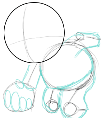 Lightly sketch his fingers with ovals. Lightly sketch the basic shape of his form as well.
