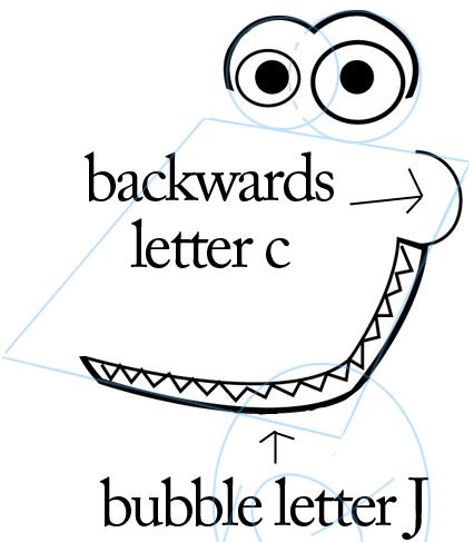 Step 3 : Drawing Cartoon Alligators & Crocs Step by Step Lesson