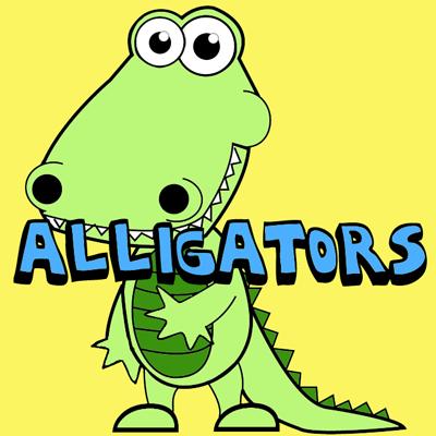 How to Draw Cartoon Alligators & Crocodiles in Easy Steps Drawing Tutorial