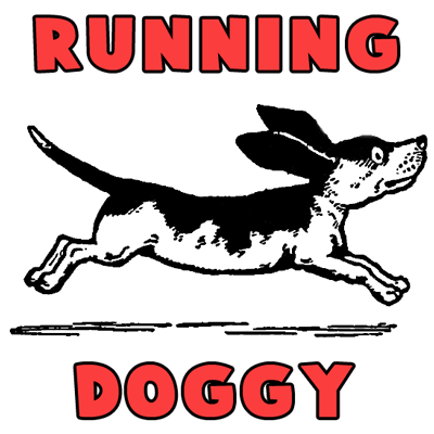 drawing cartoon dogs running and playing step by step lesson