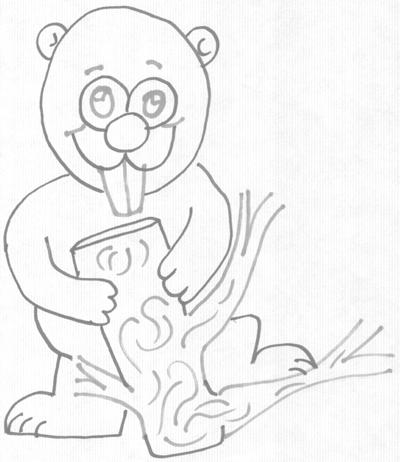 Step 5 : Drawing a Cartoon Beaver Step by Step Tutorial