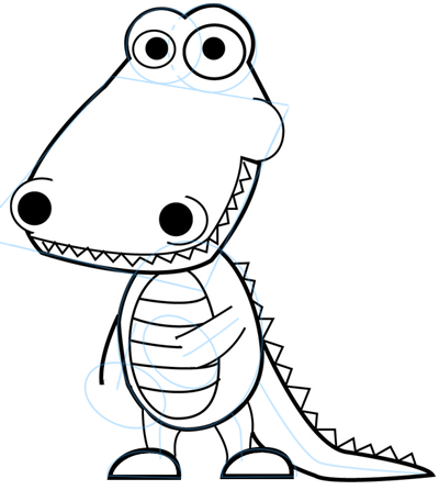 Step 6 : Drawing Cartoon Alligators & Crocs Step by Step Lesson