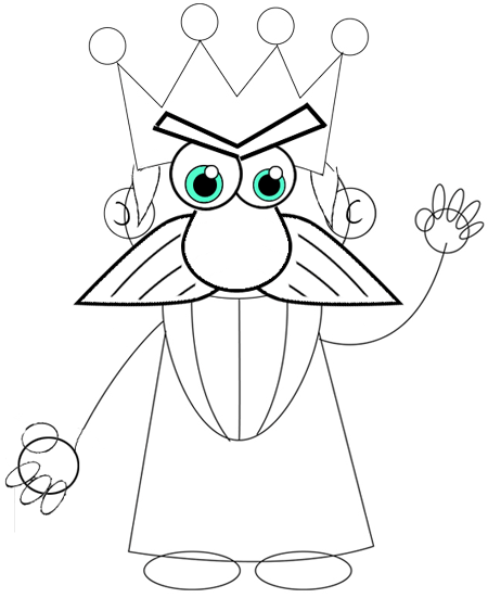 Step 7 : Drawing Cartoon Kings Easy Steps Tutorial