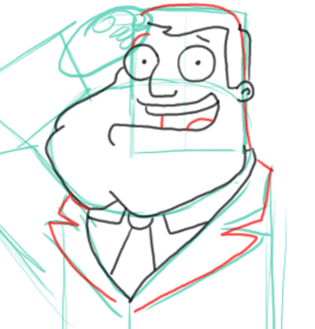 Step 7 : Drawing Stan the Dad from American Dad Step by Step Tutorial