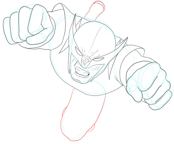 Step 7 : Drawing DC Comics Wolverine in Easy Steps Lesson