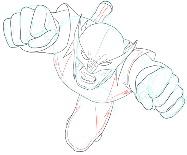 Step 8 : Drawing DC Comics Wolverine in Easy Steps Lesson