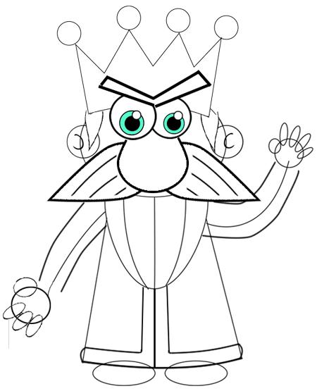 Step 8 : Drawing Cartoon Kings Easy Steps Tutorial