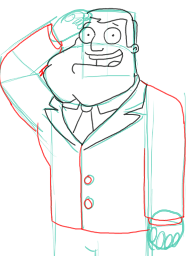 Step 8 : Drawing Stan the Dad from American Dad Step by Step Tutorial