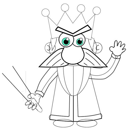 Step 9 : Drawing Cartoon Kings Easy Steps Tutorial