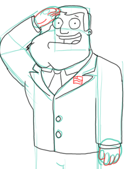 Step 9 : Drawing Stan the Dad from American Dad Step by Step Tutorial