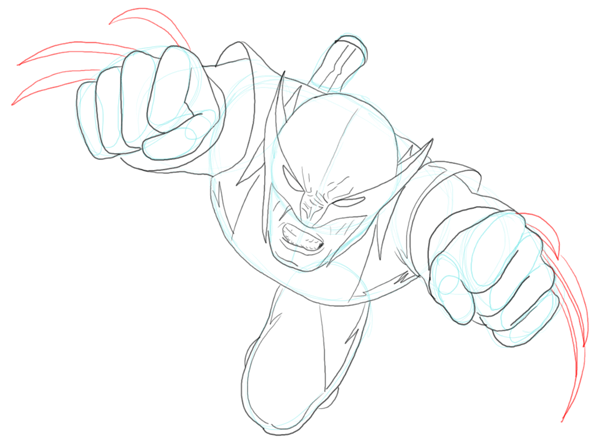 Step 9 : Drawing DC Comics Wolverine in Easy Steps Lesson