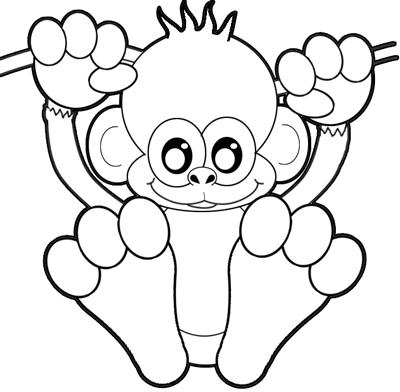 Baby monkey drawing cartoon