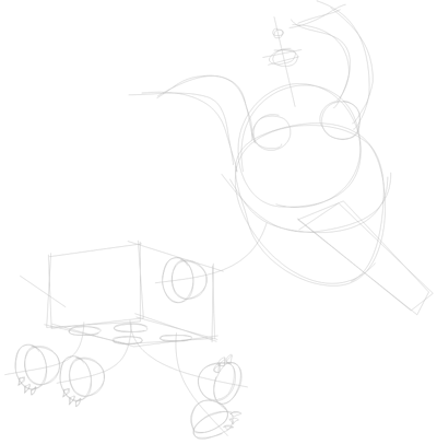 Step 1 : Drawing Goddard the Dog Robot from Jimmy Neutron Tutorial