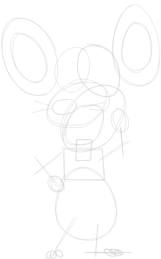 Step 1 : Drawing Pip Mouse from Barnyard Lesson