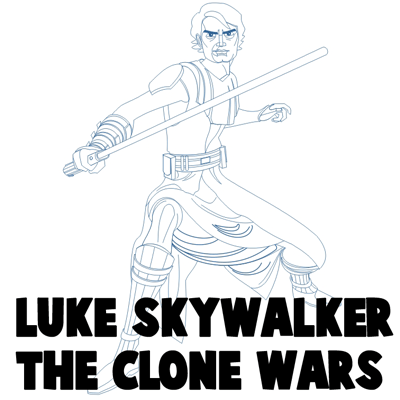 How to Draw Luke Skywalker from The Clone Wars Step by Step