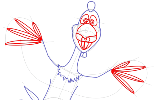 Step 4 : Drawing Peck Rooster from Barnyard Lesson