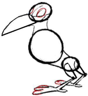 Step 5 : Drawing Cartoon Crows Tutorial