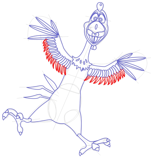 Step 6 : Drawing Peck Rooster from Barnyard Lesson