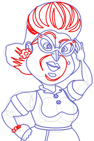 Step 6 Drawing Mrs Beady Human from Barnyard