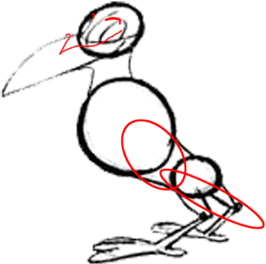 Step 6 : Drawing Cartoon Crows Tutorial