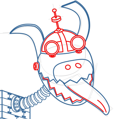 Step 7 : Drawing Goddard the Dog Robot from Jimmy Neutron Tutorial