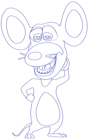 Step 8 : Drawing Pip Mouse from Barnyard Lesson