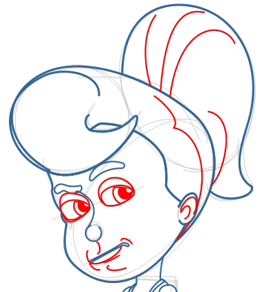Step 7 : Drawing Cindy Votex from Jimmy Neutron in Easy Steps Lesson