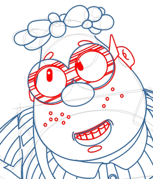 Step 7 : Drawing Carl Wheezer from Jimmy Neutron Lesson