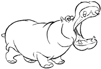 How to Draw Cartoon Hippos Opening Mouth Wide Drawing Lesson