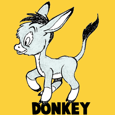 How To Draw Cartoon Donkeys Or Mules In Easy Step By Step Drawing