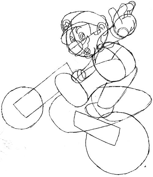 Step 7 : Drawing Mario on Motorcycle Dirt Bike