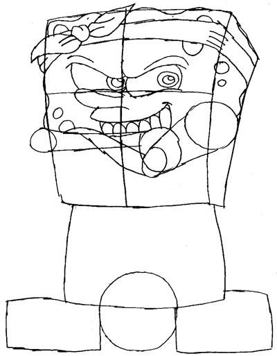 Step 5 : Drawing Gangster Spongebob Lesson