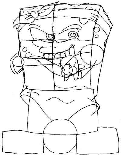 Step 6 : Drawing Gangster Spongebob Lesson