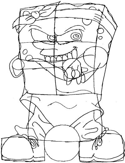 Step 7 : Drawing Gangster Spongebob Lesson
