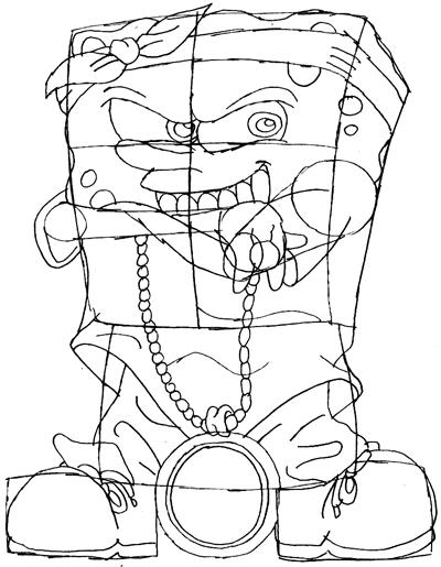 Step 8 : Drawing Gangster Spongebob Lesson