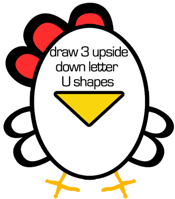 Step 4 : Drawing Chickens for Preschoolers