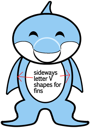 Step 7 : Drawing Dolphins in Easy Steps Lessons