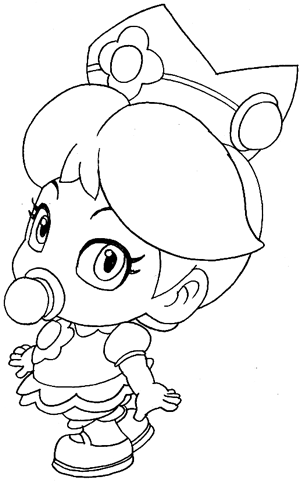 How to Draw Baby Princess Daisy from Wii Mario Kart  Page 2 of 2